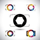 Icone astratte di vettore di concetto della macchina fotografica dello slr Fotografie Stock Libere da Diritti