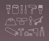 Icone, attrezzi ed attrezzature della costruzione Fotografie Stock