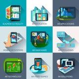 Icone aumentate dell'ombra del quadrato di realtà messe royalty illustrazione gratis