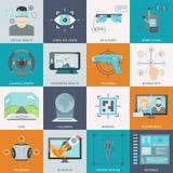Icone aumentate virtuali di realtà Fotografie Stock Libere da Diritti