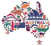 Icone australiane sotto forma di mappa illustrazione di stock