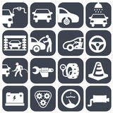 Icone automatiche dell'automobile e del meccanico di vettore messe insieme della parte dell'automobile dell'illustrazione di vett Immagini Stock