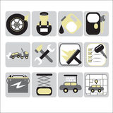 Icone automatiche di servizio Fotografia Stock Libera da Diritti
