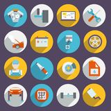 Icone automatiche di servizio piane Fotografia Stock