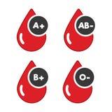 Icone A+, B+, ab ed o dei gruppi sanguigni Goccia rossa e piana dell'icona del sangue Donare anima royalty illustrazione gratis