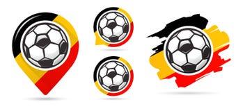 Icone belghe di vettore di calcio Obiettivo di calcio Insieme delle icone di calcio Puntatore della mappa di calcio Requisito di  Immagini Stock