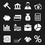 Icone bianche di affari messe Immagini Stock
