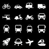 Icone bianche di trasporto Immagini Stock Libere da Diritti