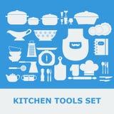 Icone bianche di vettore della siluetta degli strumenti della cucina messe Immagini Stock