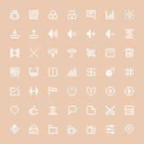 Icone bianche di web messe nell'arte del pixel Fotografia Stock