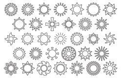 Icone in bianco e nero del sole Fotografia Stock