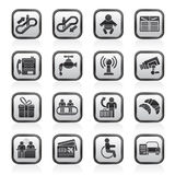 Icone in bianco e nero dell'aeroporto, di viaggio e del trasporto illustrazione vettoriale
