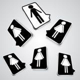 Icone in bianco e nero dell'insieme con le siluette della gente Illustrazione Vettoriale