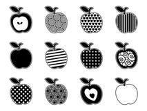 Icone in bianco e nero della mela Fotografia Stock