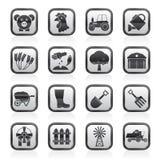 Icone in bianco e nero di azienda agricola e di agricoltura Fotografie Stock Libere da Diritti