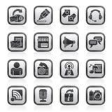 Icone in bianco e nero di blogging, di comunicazione e della rete sociale Fotografie Stock Libere da Diritti