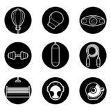 Icone in bianco e nero di forma fisica su fondo bianco Fotografia Stock Libera da Diritti