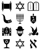 Icone in bianco e nero di giudaismo Immagine Stock Libera da Diritti