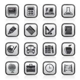 Icone in bianco e nero di istruzione e della scuola Fotografie Stock Libere da Diritti