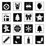 Icone in bianco e nero di natale Immagine Stock Libera da Diritti