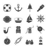 Icone in bianco e nero di navigazione da diporto messe ancoraggio Immagine Stock Libera da Diritti