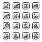 Icone in bianco e nero di servizi della strada e dell'automobile Immagini Stock