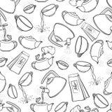 Icone in bianco e nero senza cuciture di procedura di miscela del tè dell'illustrazione di schizzo del modello di vettore Tè che  royalty illustrazione gratis