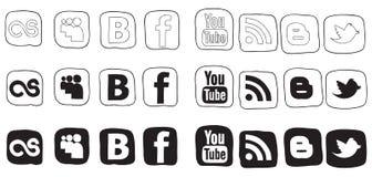 Icone in bianco e nero stabilite di vettore Immagini Stock Libere da Diritti