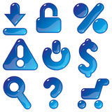 Icone blu commerciali del gel Fotografia Stock