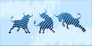 Icone blu del bue Fotografie Stock
