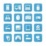 Icone blu del dispositivo dei computer Fotografie Stock