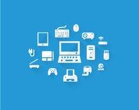 Icone blu del dispositivo dei computer Fotografia Stock Libera da Diritti