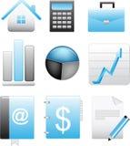 Icone blu di affari impostate Fotografia Stock