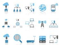 Icone blu di comunicazione del computer di serie di colore messe Fotografia Stock
