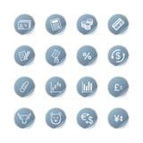 Icone blu di finanze dell'autoadesivo Fotografie Stock Libere da Diritti