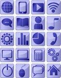 Icone blu di media Fotografia Stock