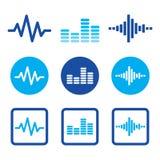 Icone blu di musica dell'onda sonora messe Fotografia Stock Libera da Diritti