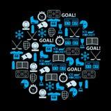 Icone blu di sport del hockey su ghiaccio messe nel cerchio Fotografia Stock