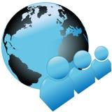 Icone blu lucide di simbolo della gente del mondo con il globo Fotografie Stock Libere da Diritti