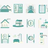 Icone blu piane per affitto di alloggio Immagine Stock