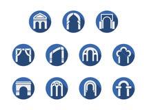 Icone blu rotonde incurvate degli ingressi messe Fotografie Stock Libere da Diritti