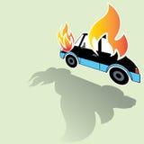 Icone brucianti di incidente stradale posate dal suo lato Immagine Stock Libera da Diritti