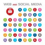 50 icone buble di media sociali Fotografie Stock Libere da Diritti
