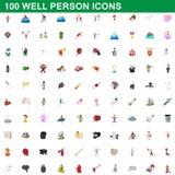 100 icone buone messe, stile della persona del fumetto Fotografie Stock Libere da Diritti