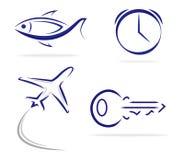 Icone chiave dell'aereo dell'orologio del pesce Immagini Stock