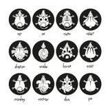 Icone cinesi dei segni dello zodiaco messe Topo del toro del bue della tigre del cane di scimmia del cavallo del coniglio del gal Fotografie Stock