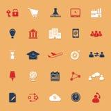 Icone classiche di colore del rapporto d'affari con ombra Immagine Stock