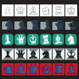 Icone classiche di scacchi di vettore messe Fotografia Stock Libera da Diritti