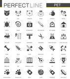 Icone classiche nere del negozio di animali di web messe illustrazione vettoriale