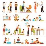 Icone colorate decorative di Flat Set Of della babysitter Immagine Stock